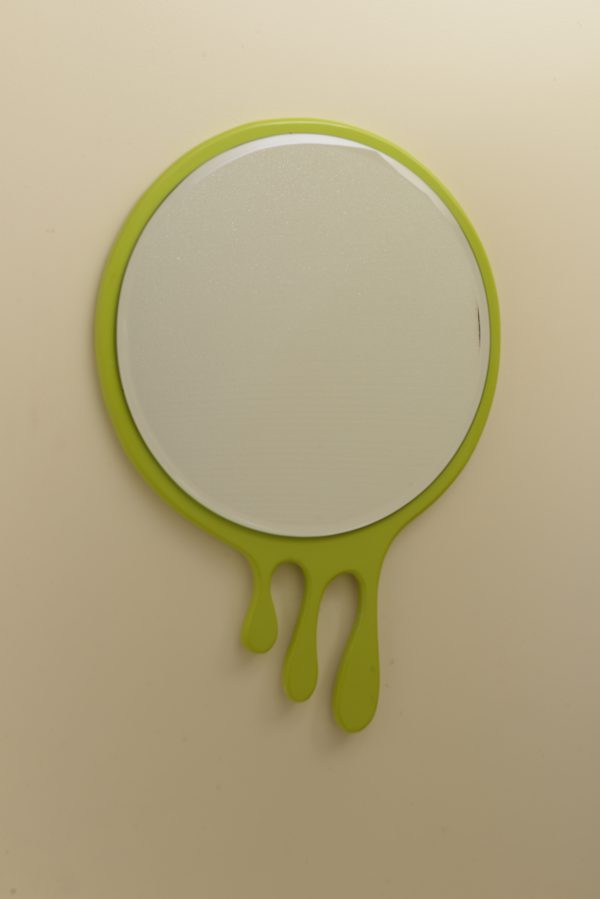 Green Droplets Round Mirror Frame